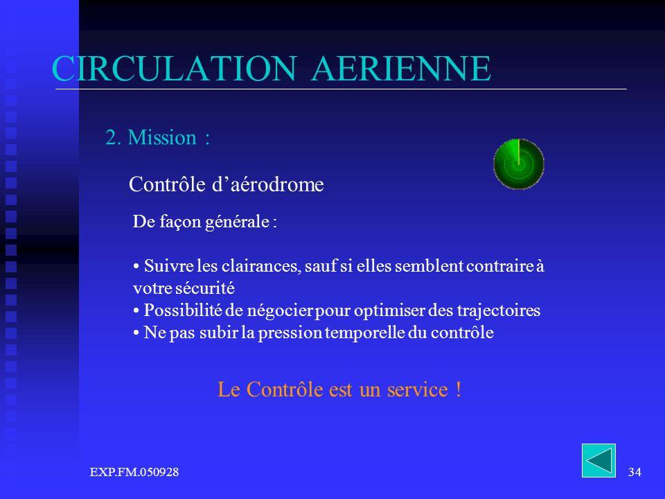 EXP.FM.05092834 CIRCULATION AERIENNE 2. Mission : Contrôle daérodrome De façon générale : Suivre les clairances, sauf si elles semblent contraire à vo