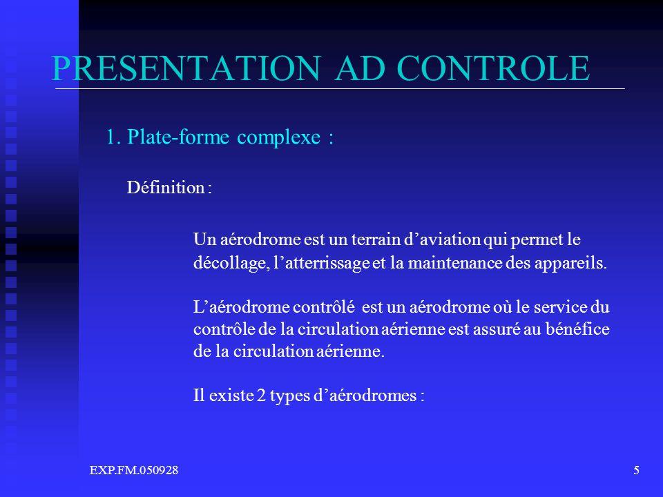 EXP.FM.0509285 PRESENTATION AD CONTROLE 1. Plate-forme complexe : Définition : Un aérodrome est un terrain daviation qui permet le décollage, latterri
