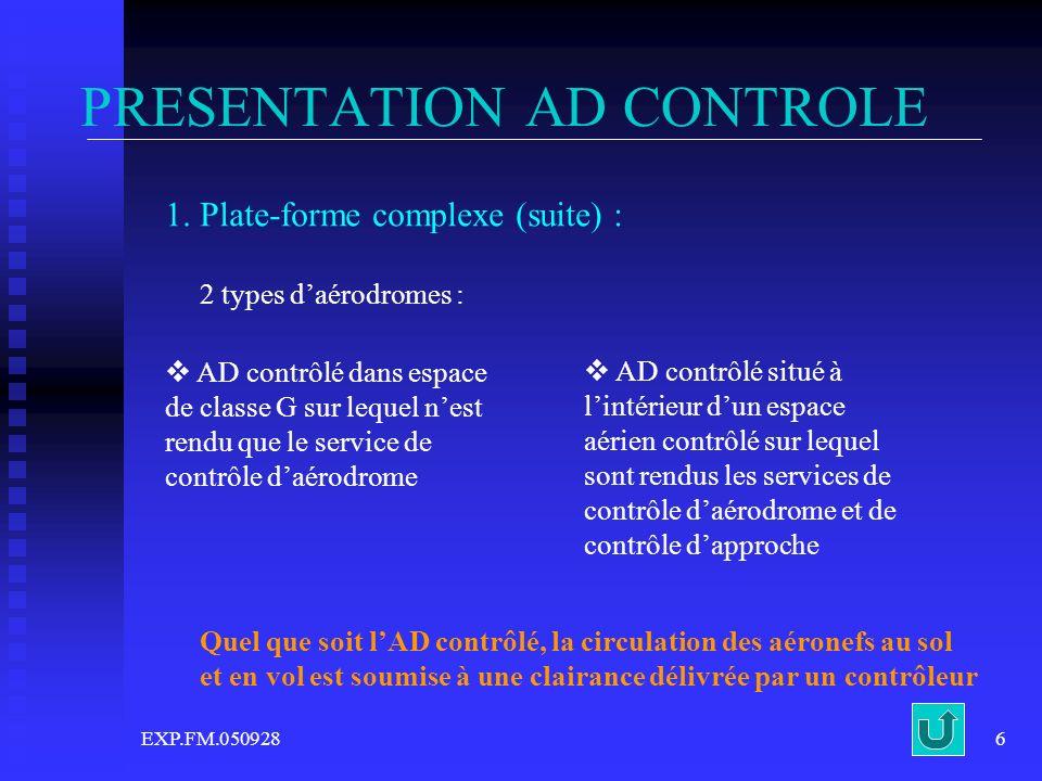 EXP.FM.0509286 PRESENTATION AD CONTROLE 1. Plate-forme complexe (suite) : 2 types daérodromes : AD contrôlé dans espace de classe G sur lequel nest re