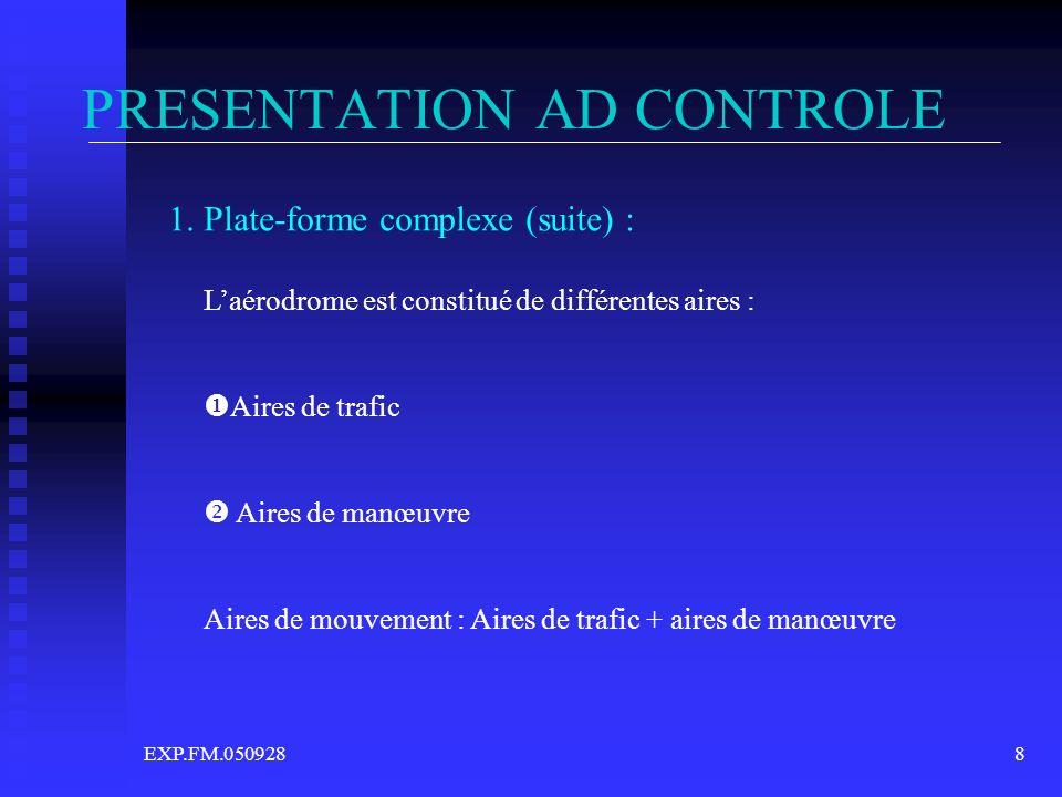 EXP.FM.0509288 PRESENTATION AD CONTROLE 1. Plate-forme complexe (suite) : Laérodrome est constitué de différentes aires : Aires de trafic Aires de man