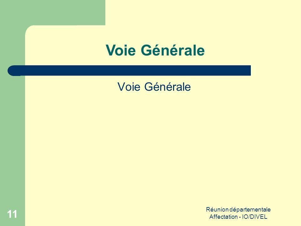 Réunion départementale Affectation - IO/DIVEL 11 Voie Générale