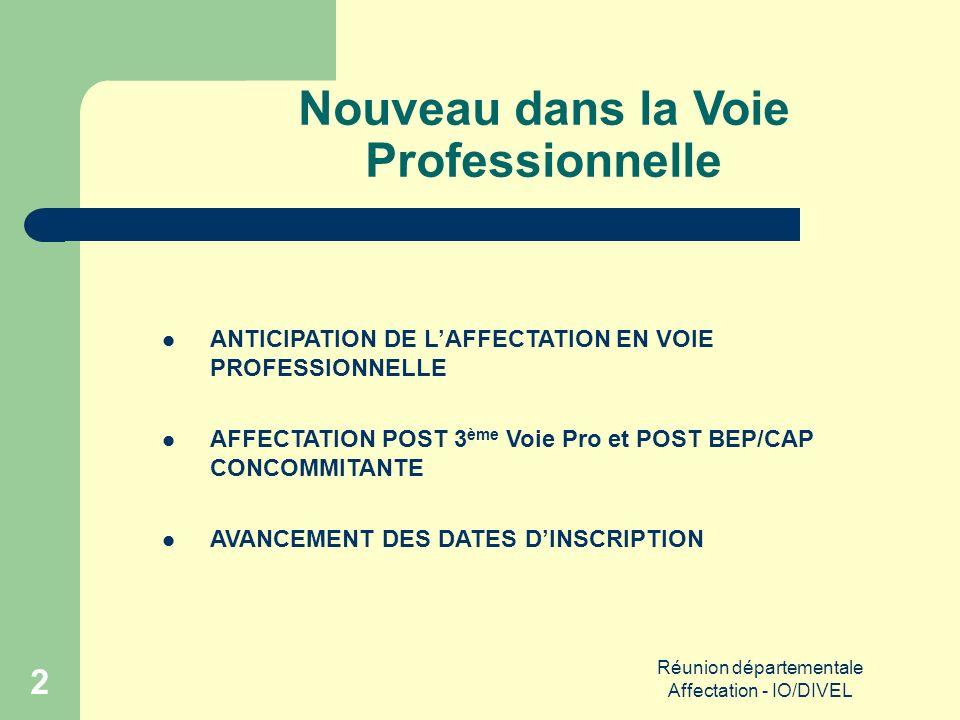 Réunion départementale Affectation - IO/DIVEL 23 Procédures particulières