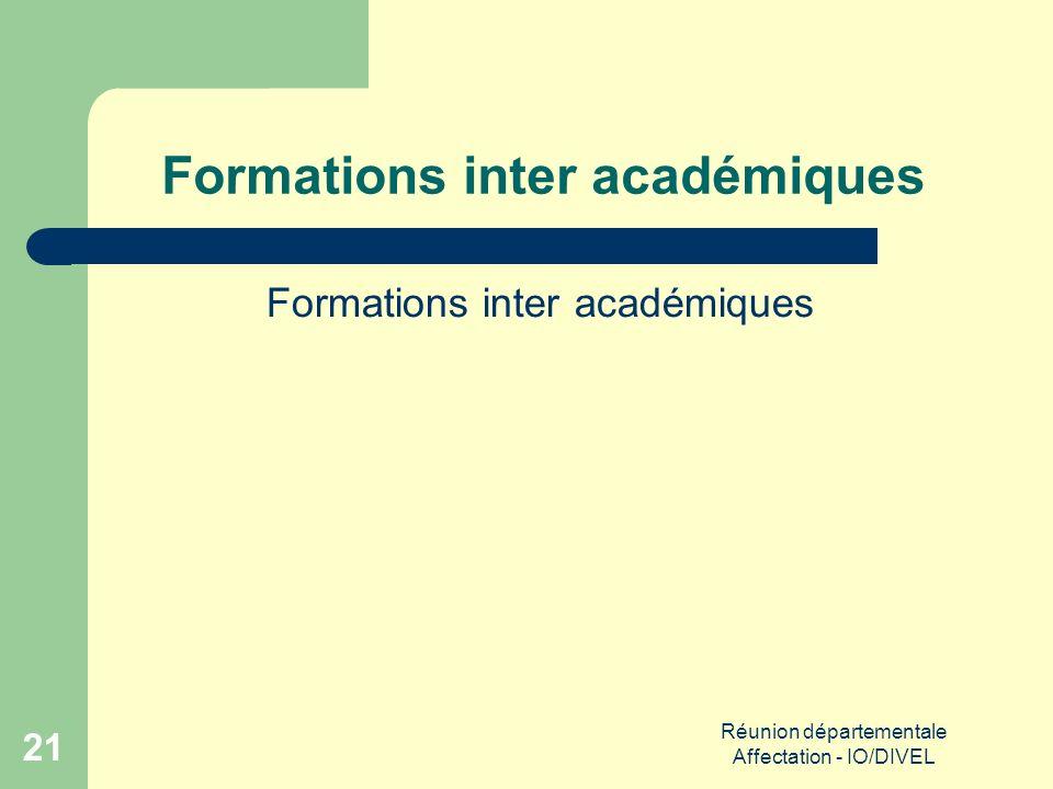 Réunion départementale Affectation - IO/DIVEL 21 Formations inter académiques