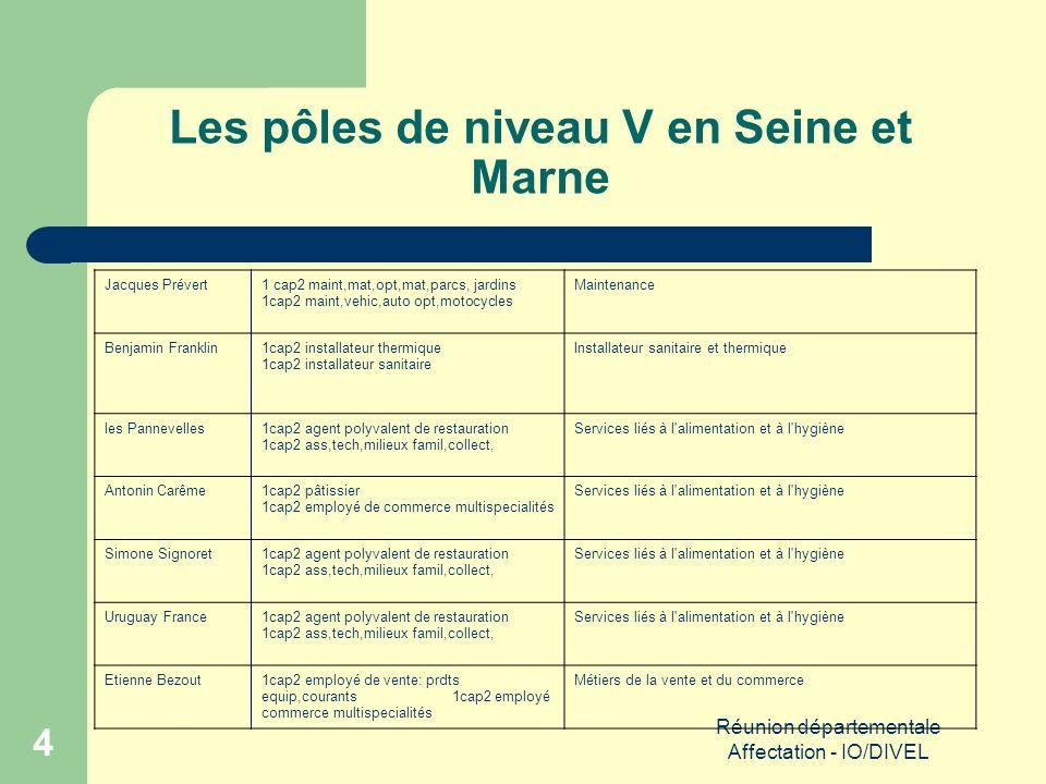 Réunion départementale Affectation - IO/DIVEL 15 Zones géographiques de recrutement (Suite)