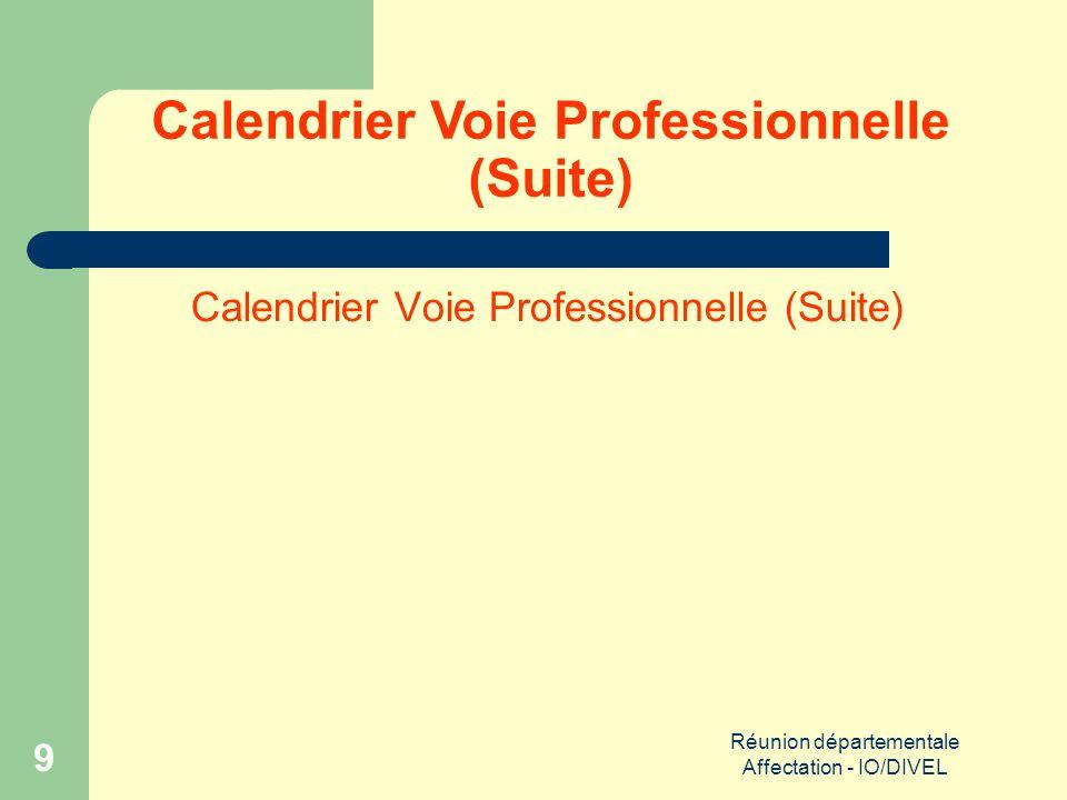 Réunion départementale Affectation - IO/DIVEL 20 Calendrier Voie Générale (Suite)