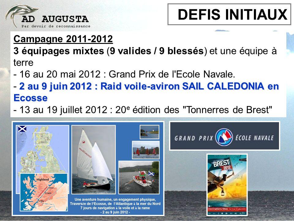 Campagne 2011-2012 3 équipages mixtes (9 valides / 9 blessés) et une équipe à terre - 16 au 20 mai 2012 : Grand Prix de l'Ecole Navale. 2 au 9 juin 20
