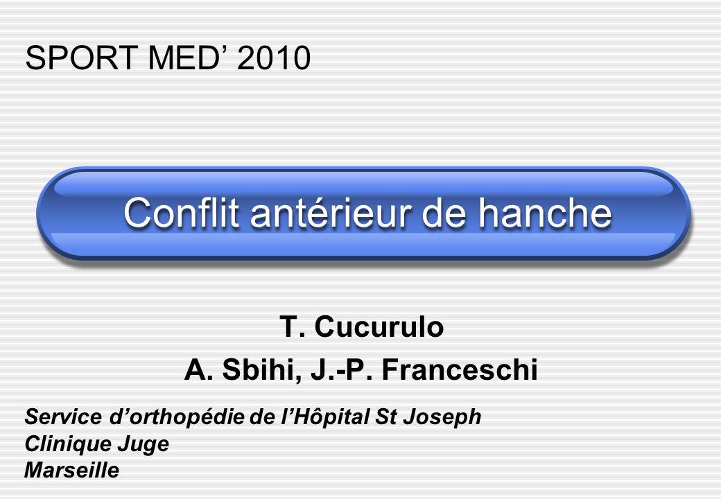 Conflit antérieur de hanche T. Cucurulo A. Sbihi, J.-P. Franceschi Service dorthopédie de lHôpital St Joseph Clinique Juge Marseille SPORT MED 2010