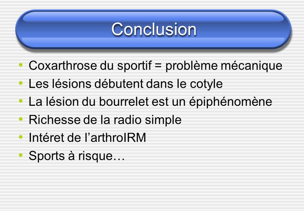 Conclusion Coxarthrose du sportif = problème mécanique Les lésions débutent dans le cotyle La lésion du bourrelet est un épiphénomène Richesse de la r