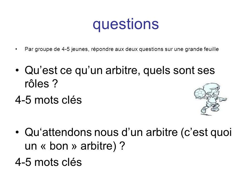questions Par groupe de 4-5 jeunes, répondre aux deux questions sur une grande feuille Quest ce quun arbitre, quels sont ses rôles ? 4-5 mots clés Qua