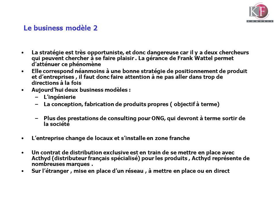 Le business modèle 2 La stratégie est très opportuniste, et donc dangereuse car il y a deux chercheurs qui peuvent chercher à se faire plaisir. La gér