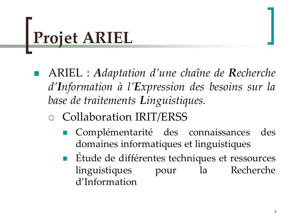 4 Projet ARIEL ARIEL : Adaptation dune chaîne de Recherche dInformation à lExpression des besoins sur la base de traitements Linguistiques.