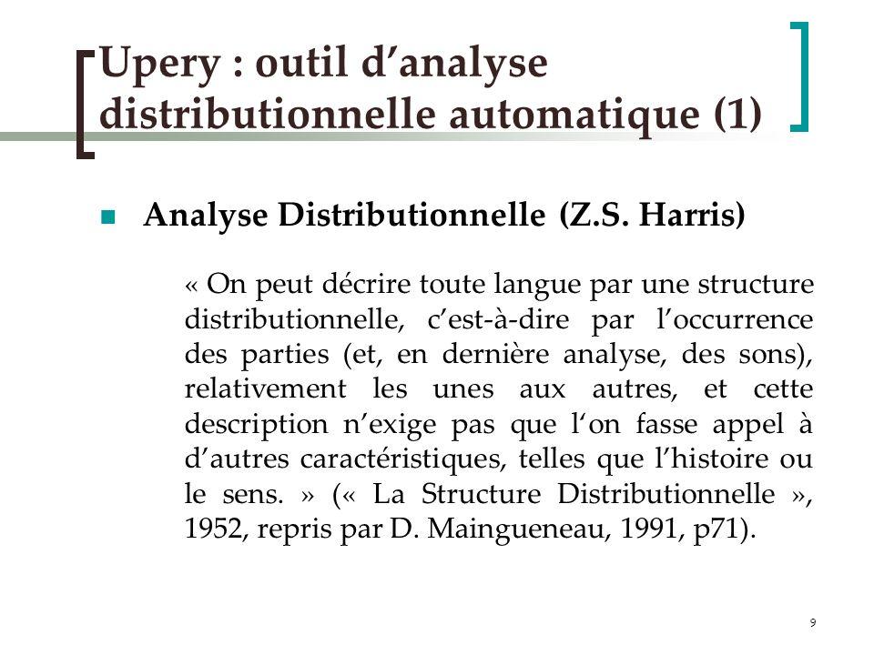 10 Upery (2) Lanalyse distributionnelle automatique « Rapprochement des couples dunités retrouvées dans des contextes syntaxiques identiques » Analyse syntaxique dun gros corpus (LM10) avec Syntex (D.