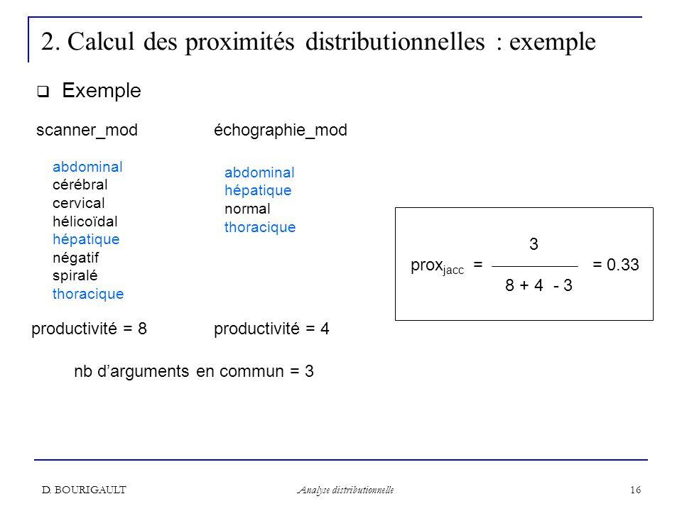 D. BOURIGAULT Analyse distributionnelle 16 2. Calcul des proximités distributionnelles : exemple Exemple abdominal cérébral cervical hélicoïdal hépati