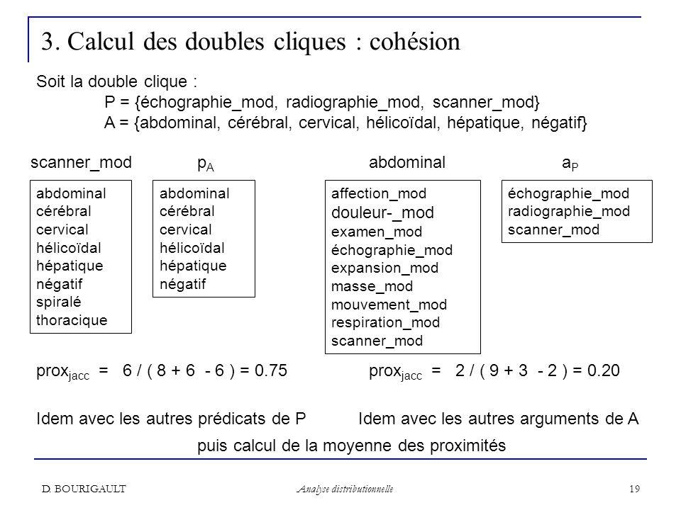 D. BOURIGAULT Analyse distributionnelle 19 3. Calcul des doubles cliques : cohésion abdominal cérébral cervical hélicoïdal hépatique négatif échograph