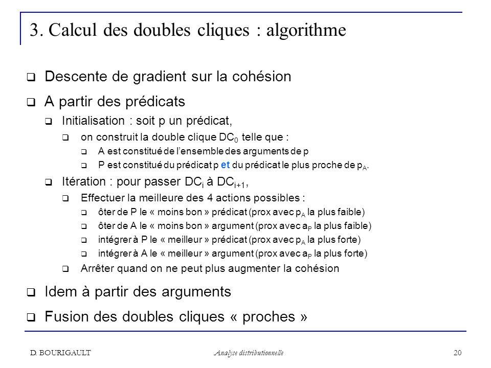 D. BOURIGAULT Analyse distributionnelle 20 3. Calcul des doubles cliques : algorithme Descente de gradient sur la cohésion A partir des prédicats Init
