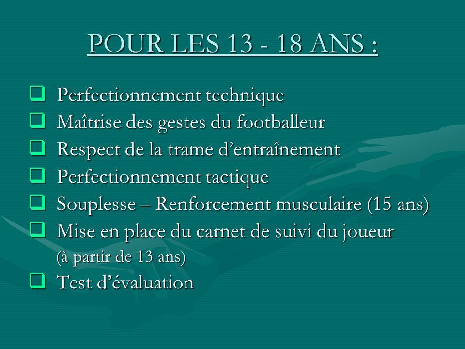 POUR LES 13 - 18 ANS : Perfectionnement technique Perfectionnement technique Maîtrise des gestes du footballeur Maîtrise des gestes du footballeur Res