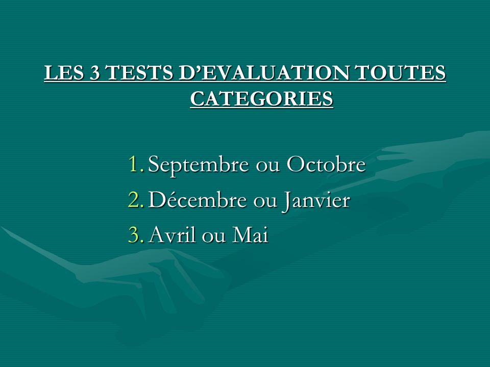 LES 3 TESTS DEVALUATION TOUTES CATEGORIES 1.Septembre ou Octobre 2.Décembre ou Janvier 3.Avril ou Mai