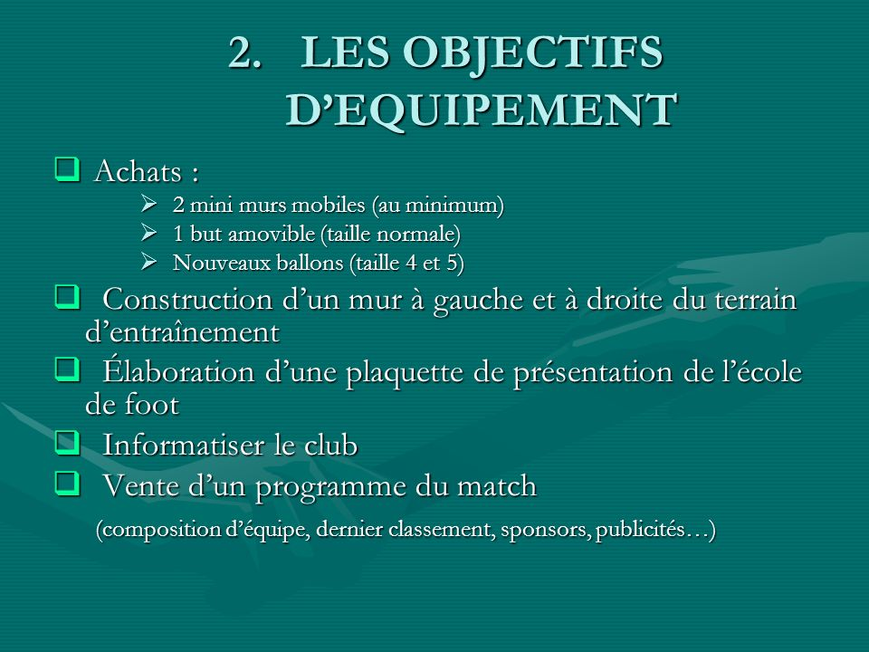 2.LES OBJECTIFS DEQUIPEMENT Achats : Achats : 2 mini murs mobiles (au minimum) 2 mini murs mobiles (au minimum) 1 but amovible (taille normale) 1 but