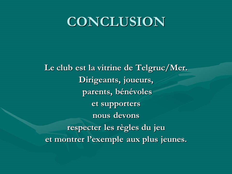 CONCLUSION Le club est la vitrine de Telgruc/Mer. Dirigeants, joueurs, parents, bénévoles parents, bénévoles et supporters nous devons respecter les r