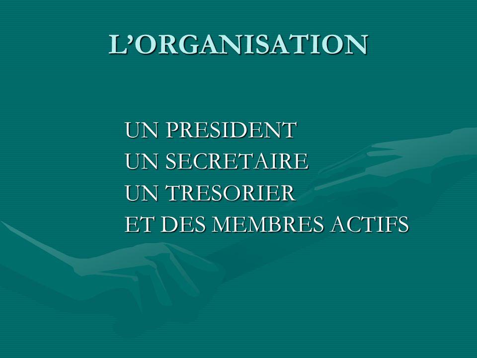 LORGANISATION UN PRESIDENT UN SECRETAIRE UN TRESORIER ET DES MEMBRES ACTIFS