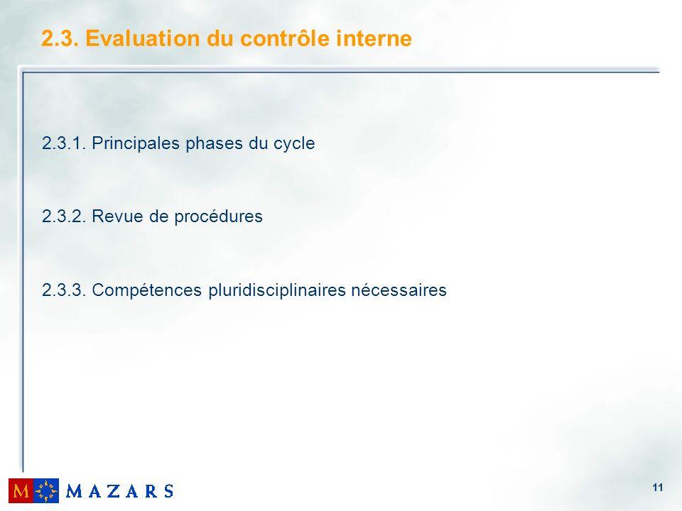 11 2.3. Evaluation du contrôle interne 2.3.1. Principales phases du cycle 2.3.2. Revue de procédures 2.3.3. Compétences pluridisciplinaires nécessaire