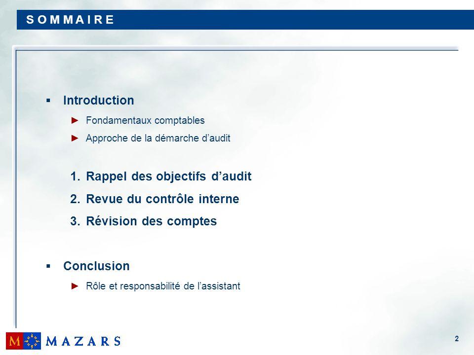 2 S O M M A I R E Introduction Fondamentaux comptables Approche de la démarche daudit 1.Rappel des objectifs daudit 2.Revue du contrôle interne 3.Révi