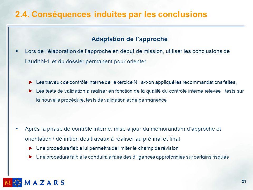 21 2.4. Conséquences induites par les conclusions Adaptation de lapproche Lors de lélaboration de lapproche en début de mission, utiliser les conclusi