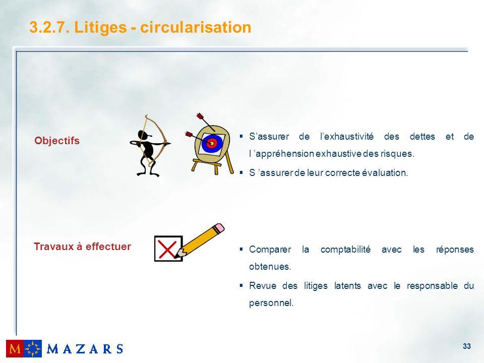 33 3.2.7. Litiges - circularisation Objectifs Travaux à effectuer Sassurer de lexhaustivité des dettes et de l appréhension exhaustive des risques. S