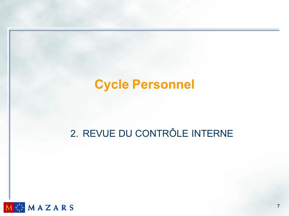 7 Cycle Personnel 2. REVUE DU CONTRÔLE INTERNE