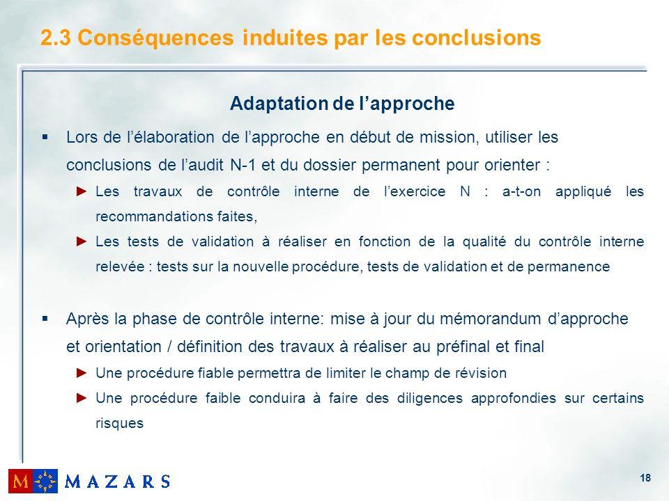 18 2.3 Conséquences induites par les conclusions Adaptation de lapproche Lors de lélaboration de lapproche en début de mission, utiliser les conclusio