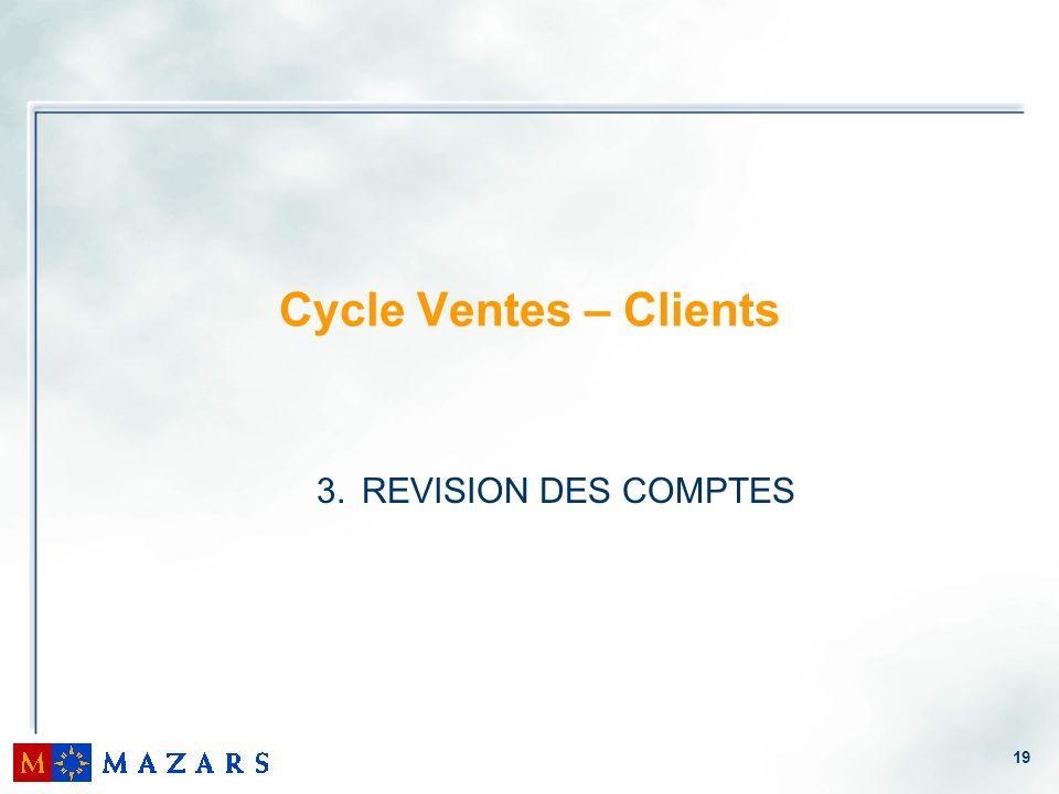 19 Cycle Ventes – Clients 3. REVISION DES COMPTES