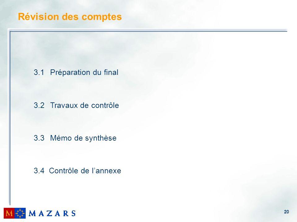 20 3.1 Préparation du final 3.2 Travaux de contrôle 3.3 Mémo de synthèse 3.4 Contrôle de lannexe Révision des comptes