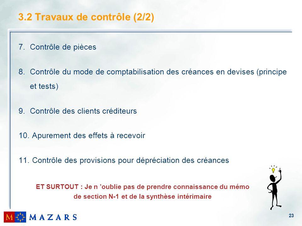 23 3.2 Travaux de contrôle (2/2) 7.Contrôle de pièces 8.Contrôle du mode de comptabilisation des créances en devises (principe et tests) 9.Contrôle des clients créditeurs 10.
