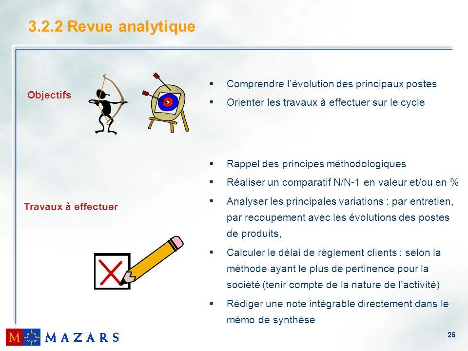 26 3.2.2 Revue analytique Comprendre lévolution des principaux postes Orienter les travaux à effectuer sur le cycle Rappel des principes méthodologiqu