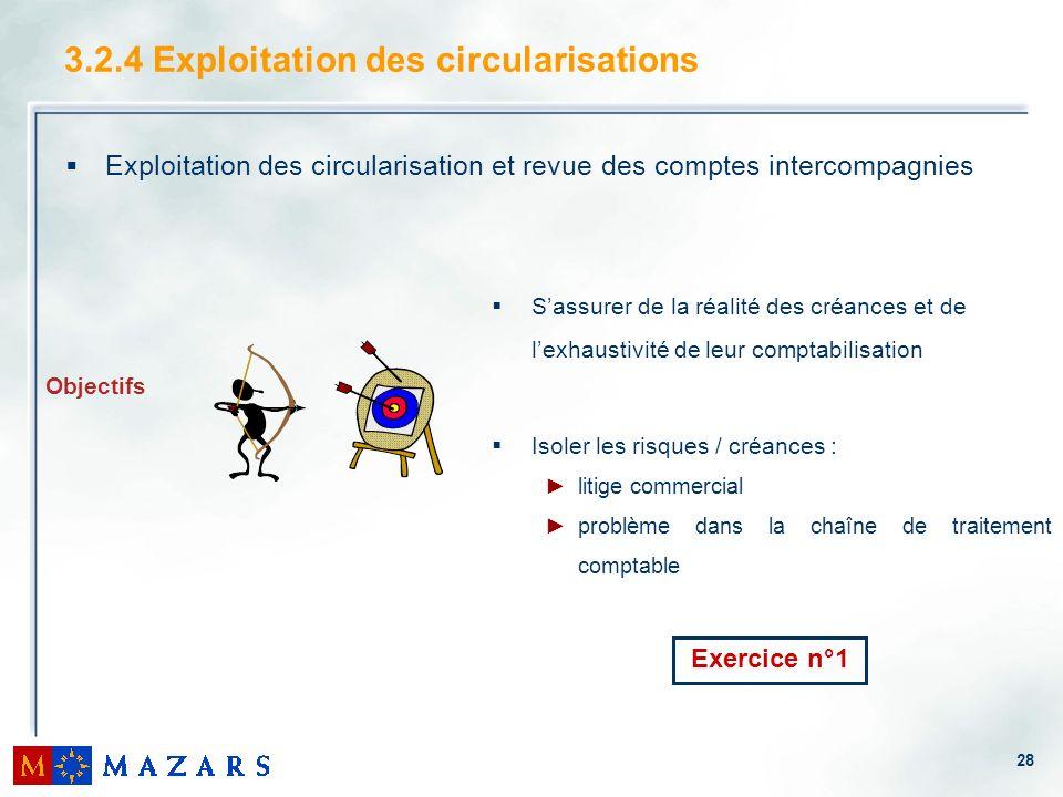 28 3.2.4 Exploitation des circularisations Exploitation des circularisation et revue des comptes intercompagnies Sassurer de la réalité des créances e