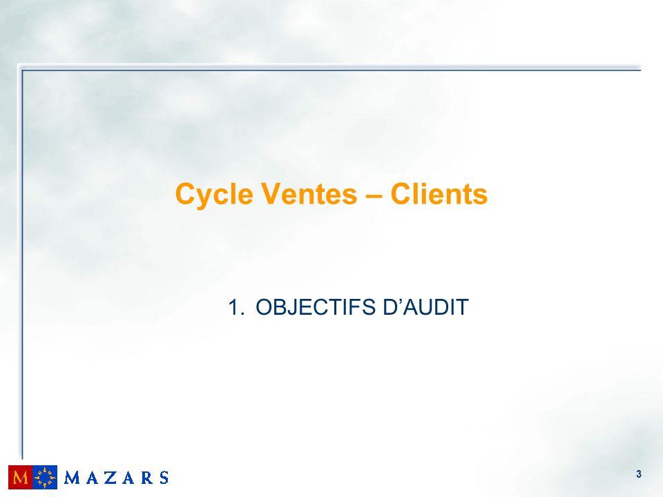 3 Cycle Ventes – Clients 1. OBJECTIFS DAUDIT