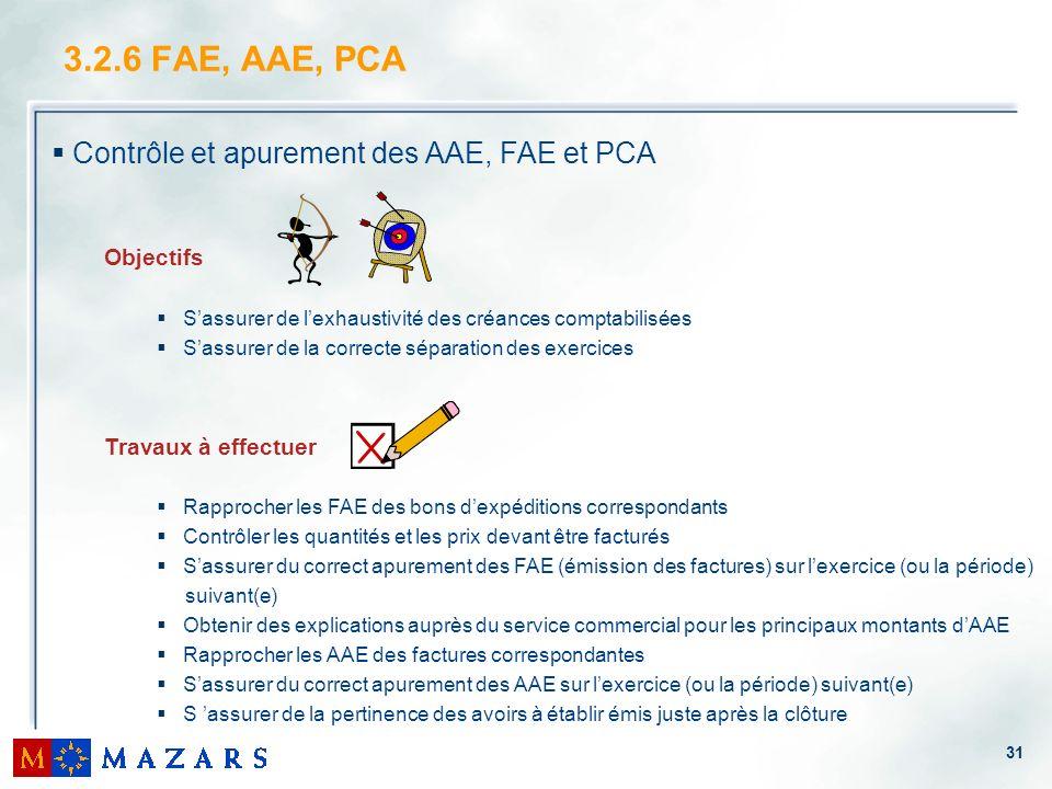 31 3.2.6 FAE, AAE, PCA Contrôle et apurement des AAE, FAE et PCA Objectifs Sassurer de lexhaustivité des créances comptabilisées Sassurer de la correc