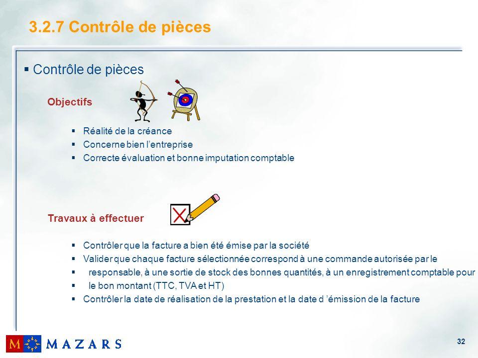 32 3.2.7 Contrôle de pièces Contrôle de pièces Objectifs Réalité de la créance Concerne bien lentreprise Correcte évaluation et bonne imputation compt