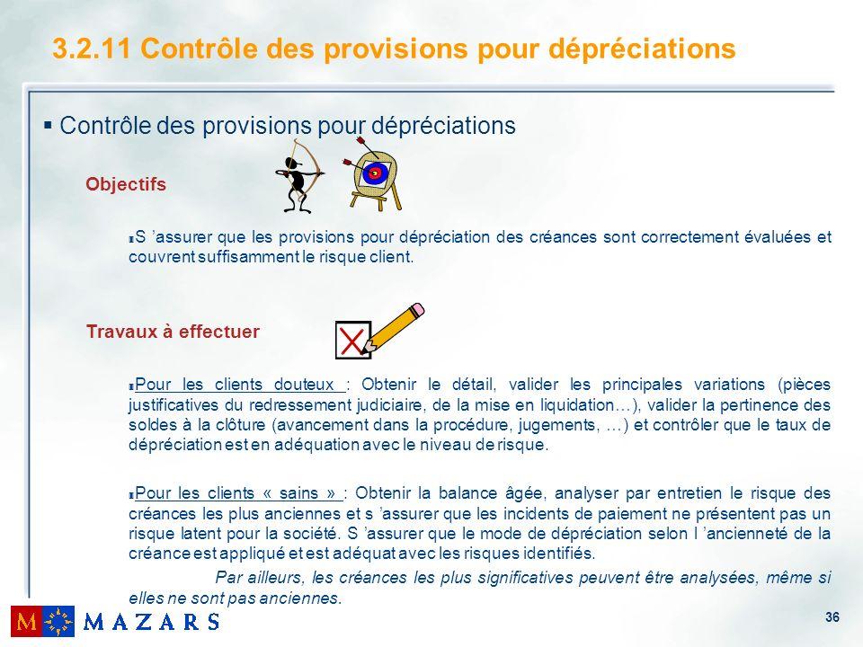 36 3.2.11 Contrôle des provisions pour dépréciations Contrôle des provisions pour dépréciations Objectifs 3 S assurer que les provisions pour déprécia