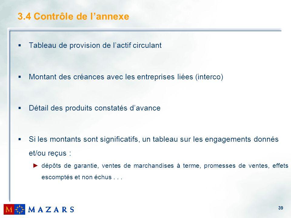39 3.4 Contrôle de lannexe Tableau de provision de lactif circulant Montant des créances avec les entreprises liées (interco) Détail des produits cons