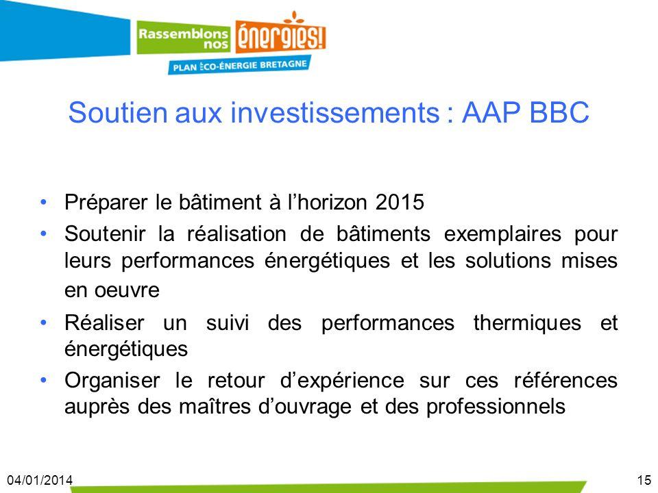 04/01/201415 Soutien aux investissements : AAP BBC Préparer le bâtiment à lhorizon 2015 Soutenir la réalisation de bâtiments exemplaires pour leurs pe