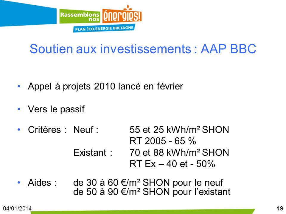 04/01/201419 Soutien aux investissements : AAP BBC Appel à projets 2010 lancé en février Vers le passif Critères : Neuf : 55 et 25 kWh/m² SHON RT 2005