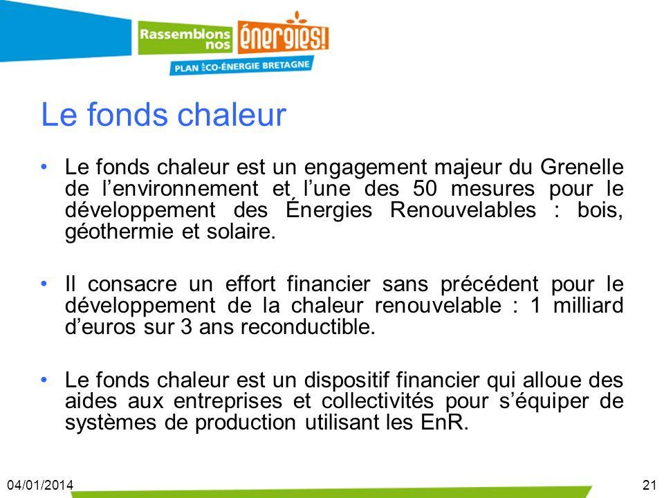 04/01/201421 Le fonds chaleur Le fonds chaleur est un engagement majeur du Grenelle de lenvironnement et lune des 50 mesures pour le développement des