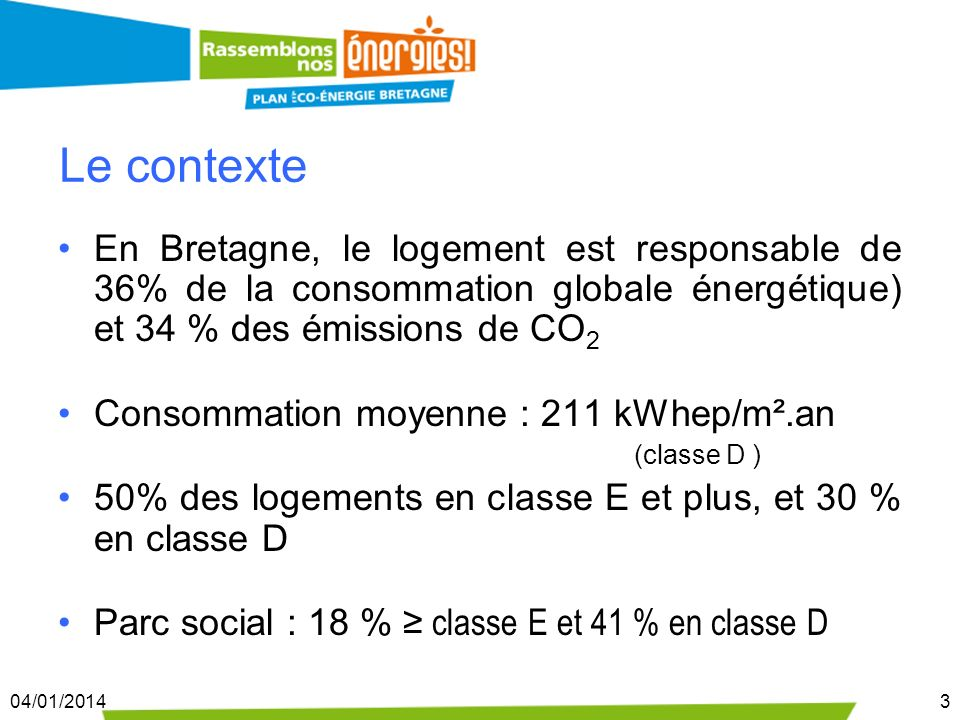 04/01/20143 Le contexte En Bretagne, le logement est responsable de 36% de la consommation globale énergétique) et 34 % des émissions de CO 2 Consomma