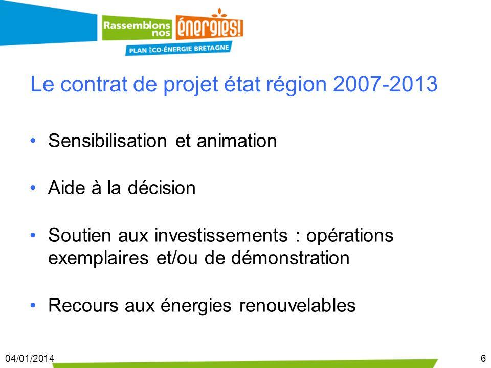04/01/20146 Le contrat de projet état région 2007-2013 Sensibilisation et animation Aide à la décision Soutien aux investissements : opérations exempl