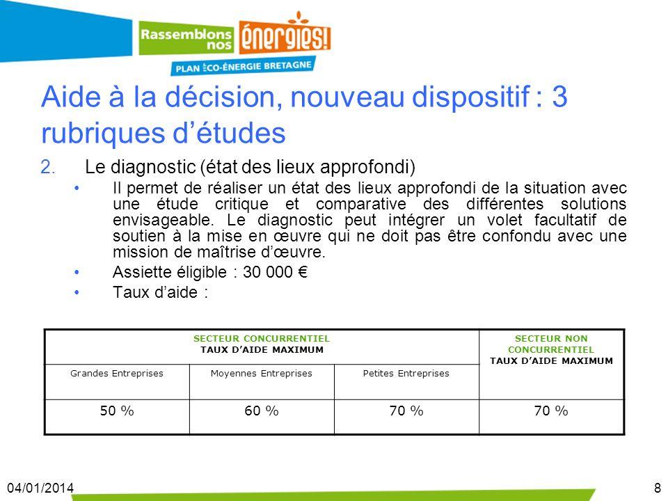 04/01/20148 Aide à la décision, nouveau dispositif : 3 rubriques détudes 2.Le diagnostic (état des lieux approfondi) Il permet de réaliser un état des