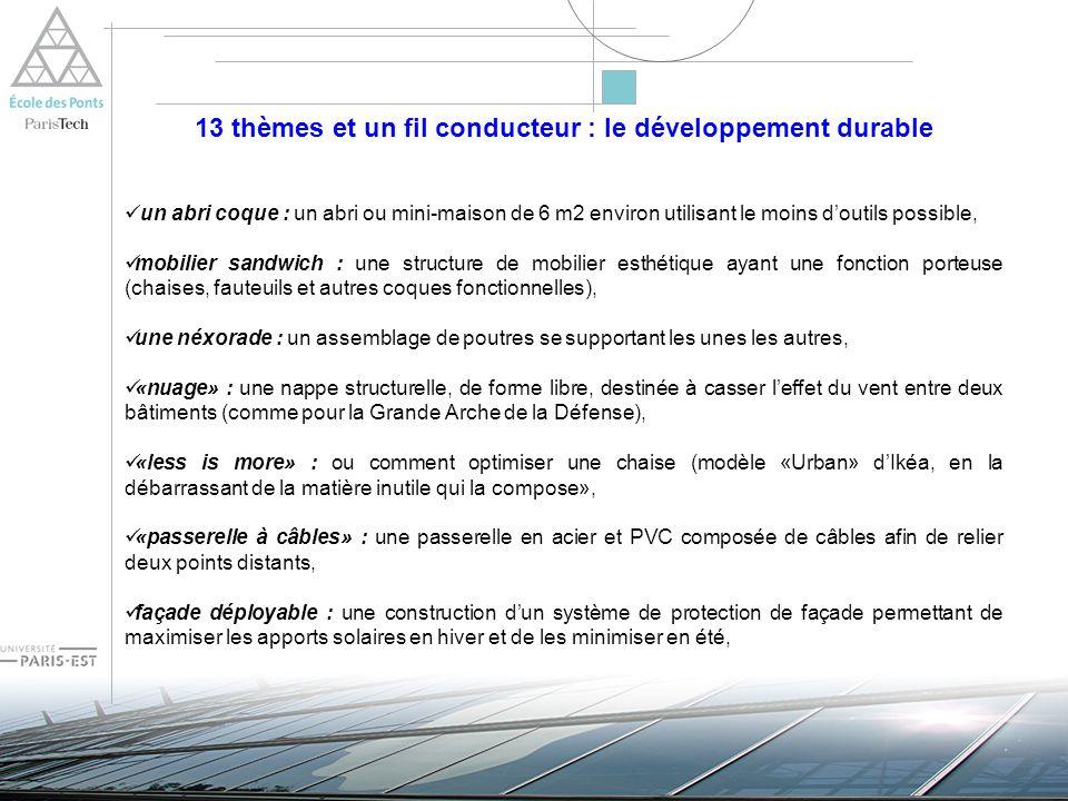 13 thèmes et un fil conducteur : le développement durable «la lueur dans la louche » : un système de construction dune toiture capable de concentrer les rayons solaires pour conversion photovoltaïque dénergie, «rampe de transport en tubes de carton» : des rampes de transport et de chargement de produits minéraux dune carrière, planeur de distance : un planeur qui devra embarquer deux charges utiles, «elle est babel la vie ?» : une structure, réalisée uniquement en carton et sans colle, qui doit permettre à lun des élèves de culminer à son sommet.