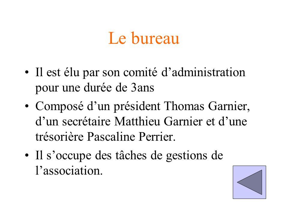 Le bureau Il est élu par son comité dadministration pour une durée de 3ans Composé dun président Thomas Garnier, dun secrétaire Matthieu Garnier et dune trésorière Pascaline Perrier.