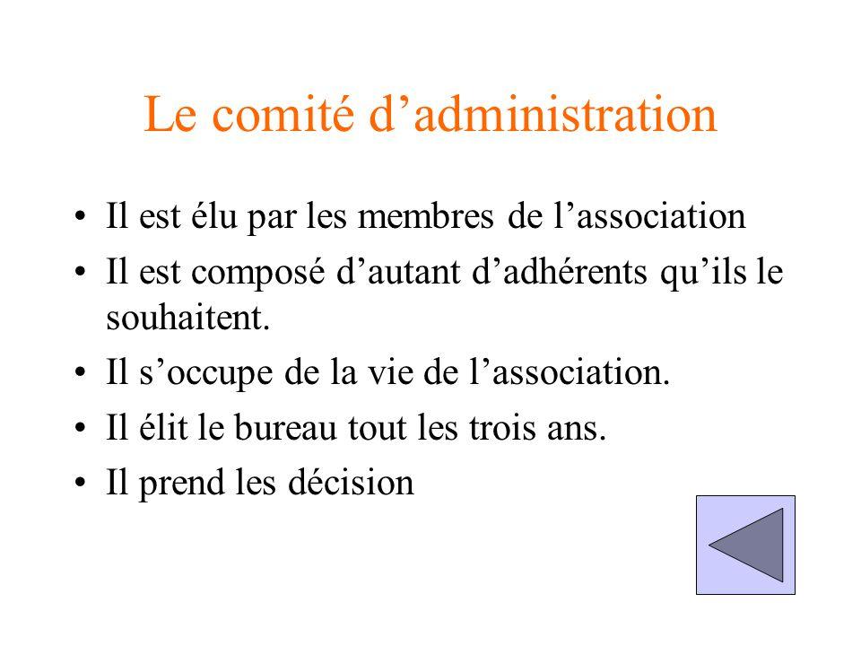 Le comité dadministration Il est élu par les membres de lassociation Il est composé dautant dadhérents quils le souhaitent.