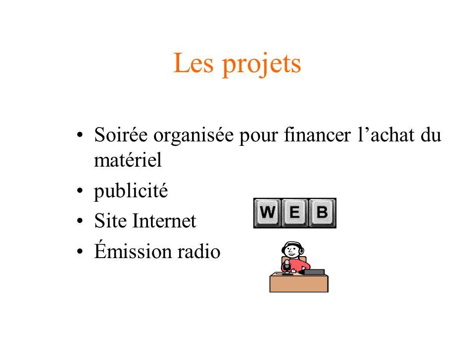 Les projets Soirée organisée pour financer lachat du matériel publicité Site Internet Émission radio